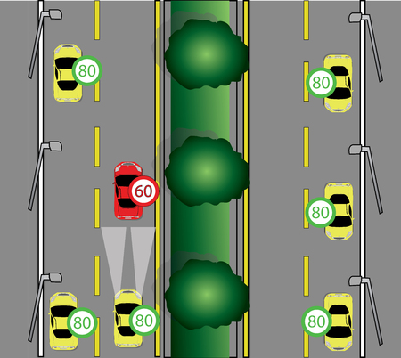 도로에서 천천히 운전하는 것에 대한 경고 스톡 콘텐츠 - 86001016