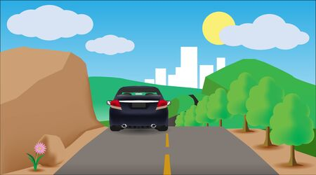 Vector car drive on the road trip to travel on nature go to city. Ilustração