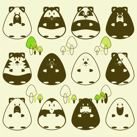 animal mole: Animal oval and cartoon