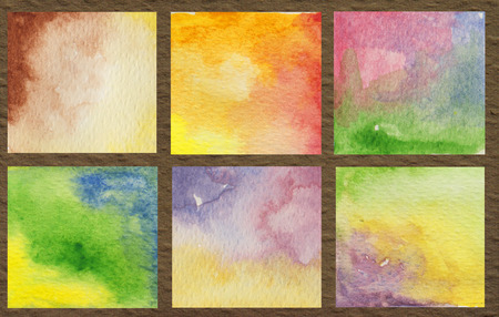 Hand drawn colorful shapes art rainbow colors watercolor painted on brown paper