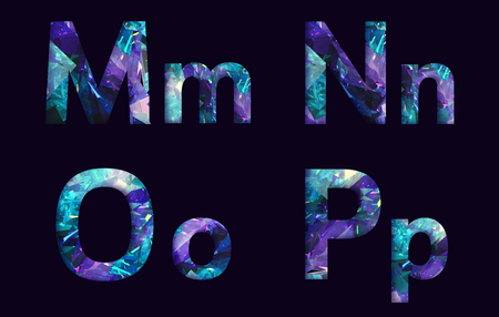 stylized font, text made of reflection light dimond, capital letter m, n, o, p  for your unique decoration in jewellery  & many concept idea
