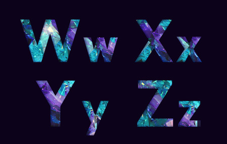 stylized font, text made of reflection light dimond, capital letter w, x, y, z for your unique decoration in jewellery  & many concept idea