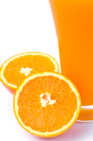 reticulata: orange juice and slice  on  white background Stock Photo