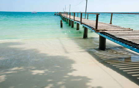 Jetty with the blue sea at Koh samet, rayong,  thailand photo