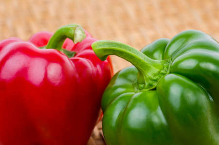 green bell pepper or sweet pepper   on brown background