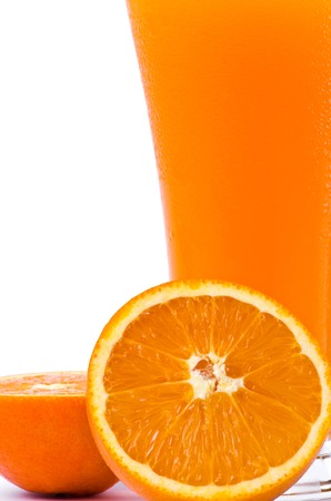reticulata: orange juice and slice  on a white background Stock Photo