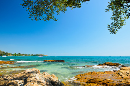 koh samet: beautiful bright blue sea at island koh samet, thailand