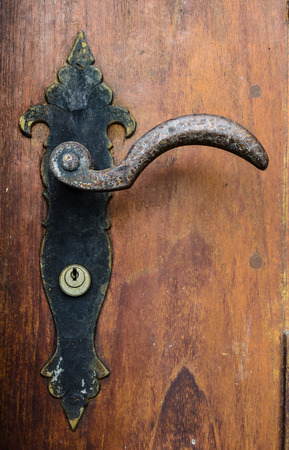 door knob: decorative antique door handle of old building