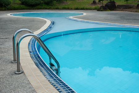 concave: swimming pool blue transparent water, with beautiful curves concave Stock Photo