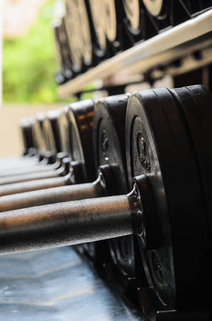 barbel: barbel weights in gym builing in thailand Stock Photo