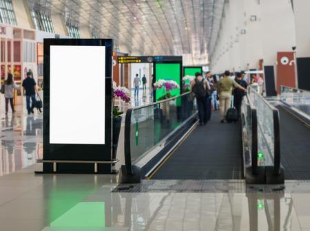 Blank billboard posters in the airport,Empty advertising billboard at aerodrome.
