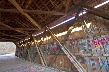 covered bridge': Graffiti-laden covered bridge.