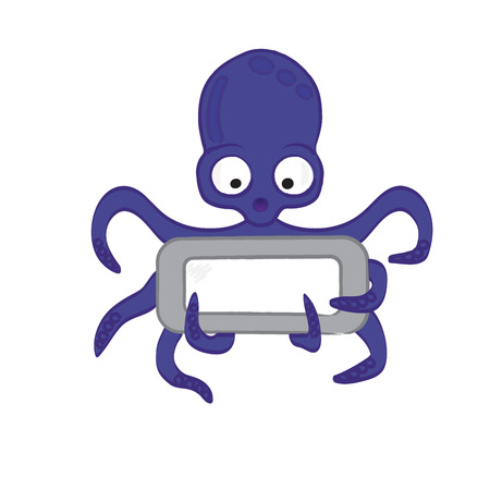 gesticulate: Cute octopus cartoon with frame