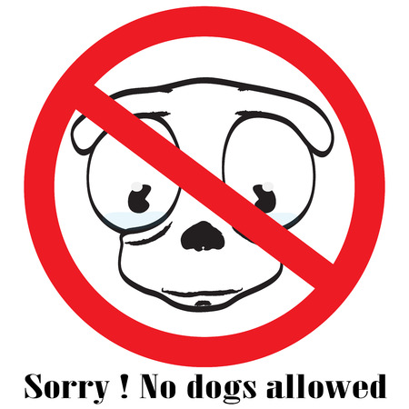 no dog sign button Vectores