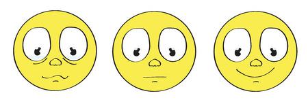 cara sonriente: smiley amarillo conjunto emoticono triste