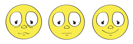 smiley face cartoon: yellow smiley sad emoticon set