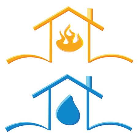 house fire: color icons concept of eco house fire and water drop Illustration