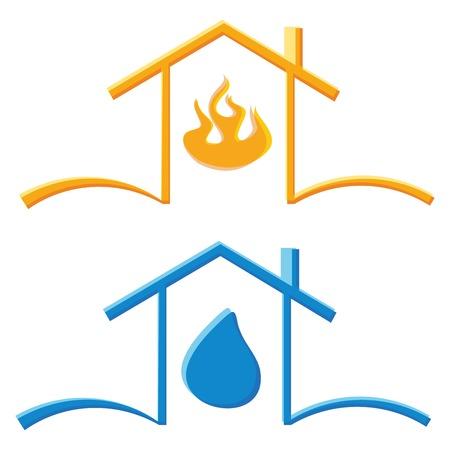 incendio casa: iconos de color concepto de fuego la casa del eco y la gota de agua Vectores