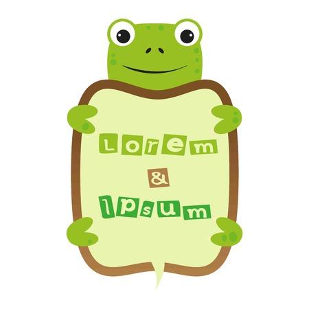 sheild: funny smile cartoon turtle self frame with text Illustration