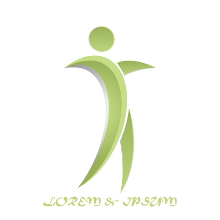 Business Corporate human dance icon Abstract green logo
