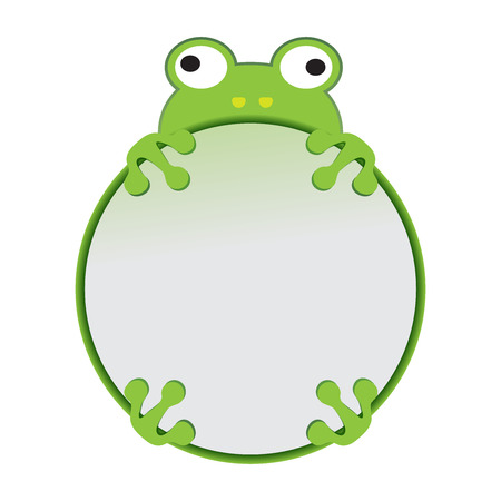 cute cartoon frog with business frame