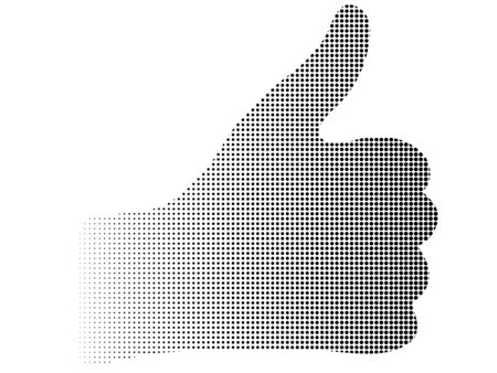 dowry: Silhouette halftone dotted thumb up hand abstract vector background