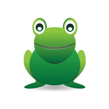 grenouille: Grenouille mignon sourire heureux de bande dessinée verte