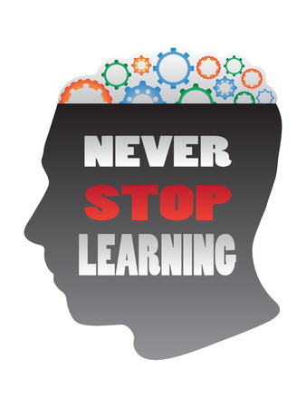 Silhouette head with gear and never stop learning words