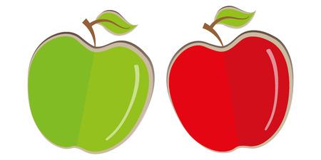 negocios comida: Conjunto de Apple aislado bio fruta plana comida vegana icono empresarial elemento