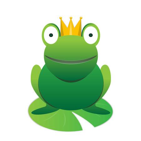 rey caricatura: Sonriente feliz lindo pr�ncipe de la rana verde de la historieta con el elemento animal de la corona de vectores Vectores