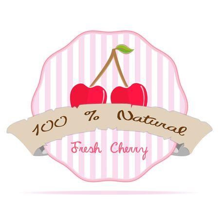 label frame: vintage cherry vegan Juice striped business label badge element vector illustration health eco emblem