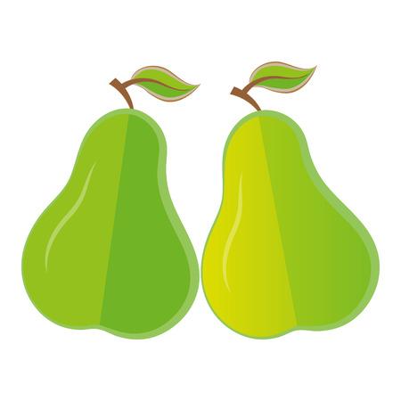 negocios comida: Org�nica de fruta de pera aislado plana vegana vector icon empresa alimentaria logo emblema elemento aislado Vectores