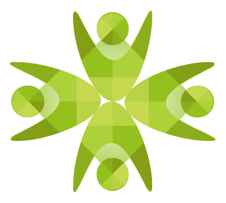 unite: Business Corporate Abstract green eco logo unite people, human company emblem green Illustration