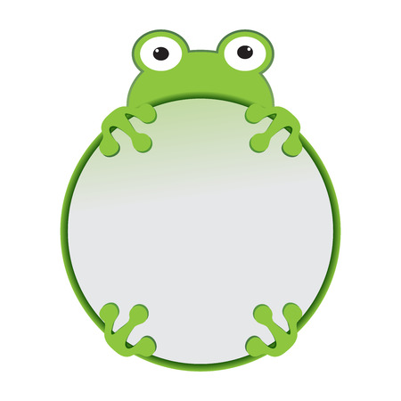 cute cartoon green frog with business blank frame vector kid funny animal illustration Illustration