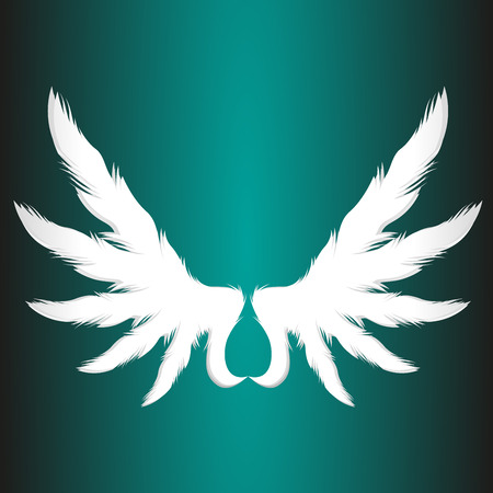 animal angelic: Abstract paper angel wings business logo element vector illustration Illustration