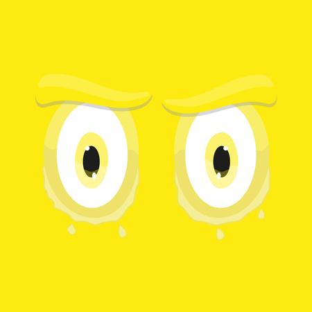 ojos tristes: historieta divertida ojos tristes amarilla emoticono sonriente fondo plana cuadrada