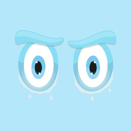 user friendly: funny cartoon sad eyes blue square smiley emoticon flat  background