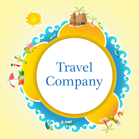 beach holiday: summer travel badge business background humans and house island beach holiday element