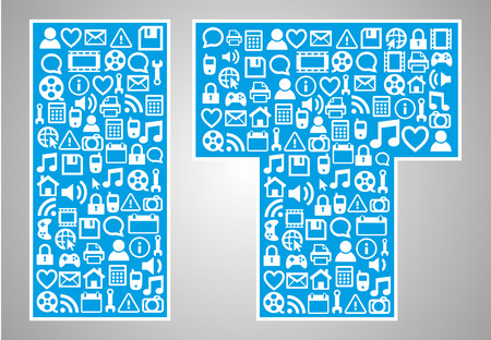 blue abstract IT text information technology  icons set background