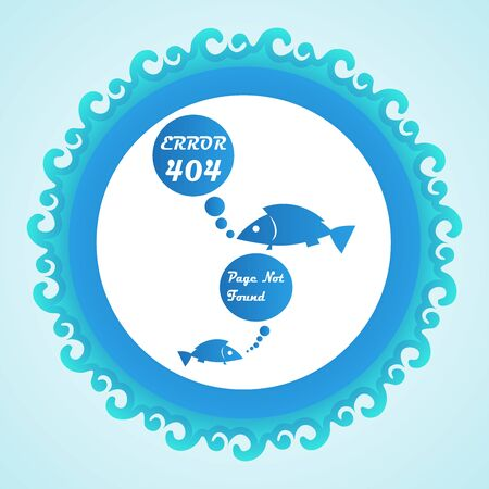 page not found: Confused blue fish error 404 web page not found vector background Illustration