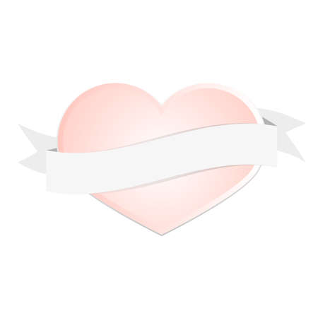 romance: Valentines day pink heart greeting card love romance background with blank ribbon place for text Illustration