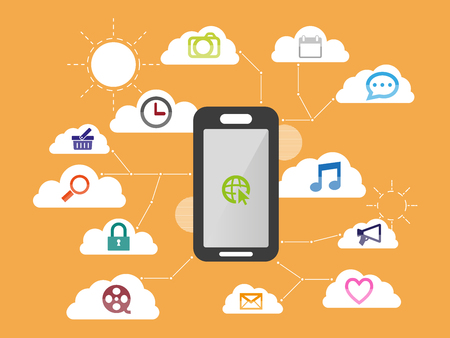 smartphone apps: Smartphone apps and system function flat icon design. modern business infographic element with cloud abstract background