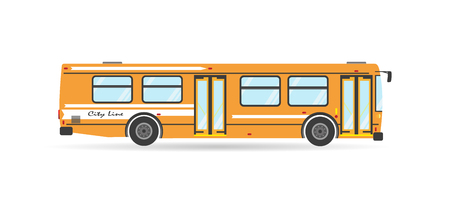 medios de transporte: Icono de desplazamiento del vehículo de transporte público moderno del vector ciudad plana transporte de autobús de tránsito aislado