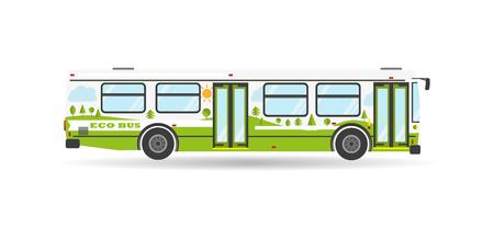 транспорт: Экологически общественный транспорт иллюстрация современный транспорт с плоским город автобусные путешествия биотоплива изолированные зеленый значок транспортного средства
