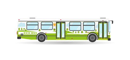 public: Vector modern transportation flat city transit bus eco public transport travel biofuel isolated green vehicle icon Illustration