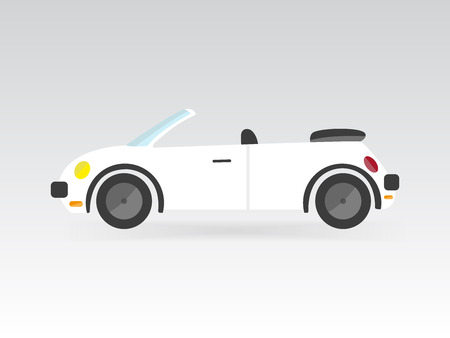 autosport: white flat isolated style convertible sports car race vector illustration transport auto icon