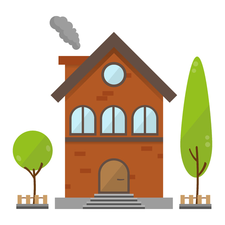brick house: Retro flat residential brick house with tree country scenery background vector illustration building