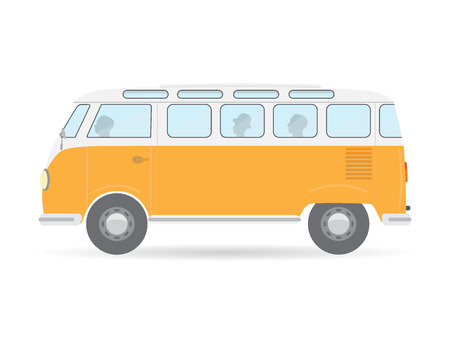 woodstock: orange flat style isolated travel retro camper van car vector illustration transport icon Illustration