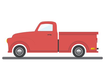 red flat style isolated cargo van car vector illustration transport pick-up car icon