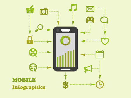 smartphone apps: Smart-phone apps and system function flat icon design